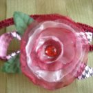 Red organza flower elastic headband