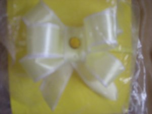 Yellow organza large bow elastic band