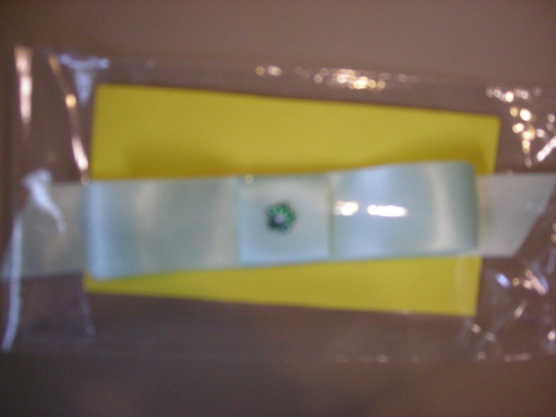 Regular large green satin bow elastic headband