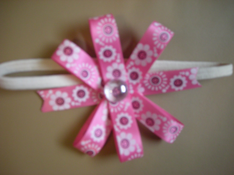Pink and white satin six way bow w  elastic headband