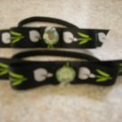 Black,white and green grossgrain two way bow pony tail set