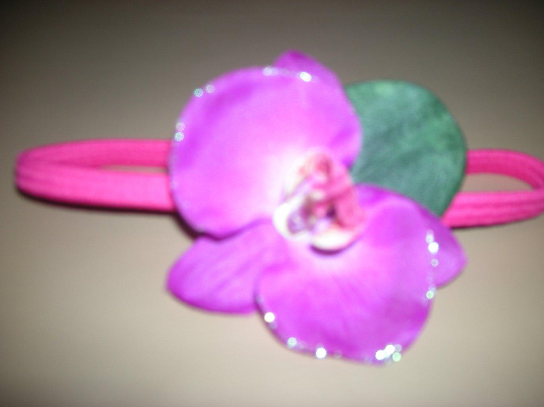 Purple Orquid flower elastic headband