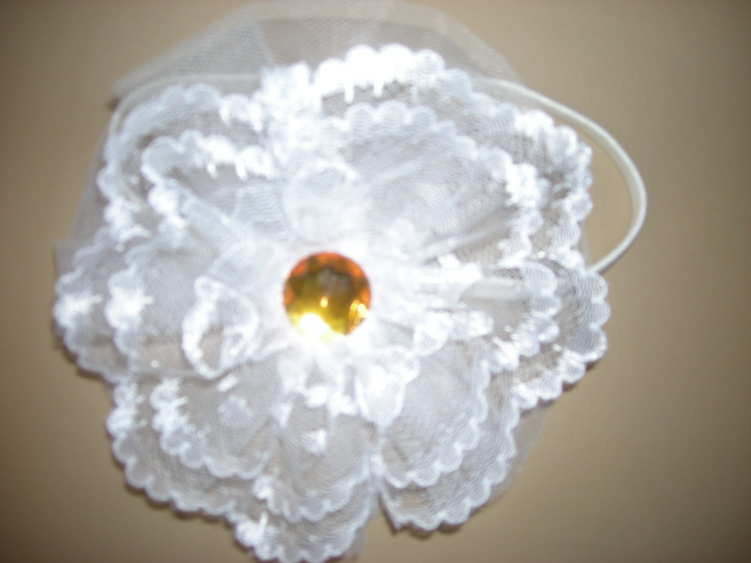 Large tulle and lace white flower headband