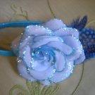 Light blue rose sparkly  headband