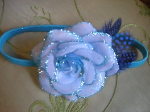 Light blue rose sparkly  headband