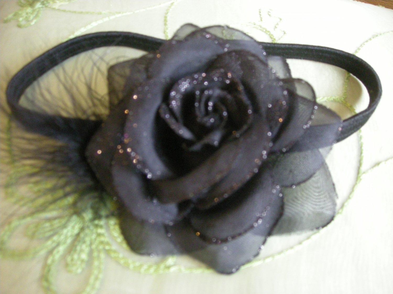 Black sparkly rose headband