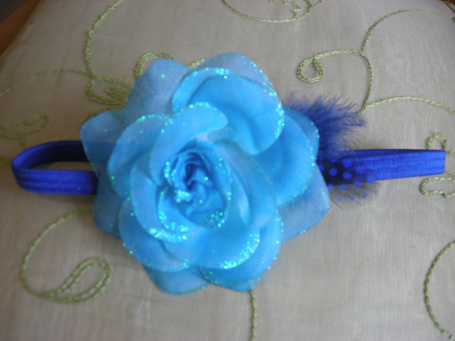 Blue rose sparkly elastic headband