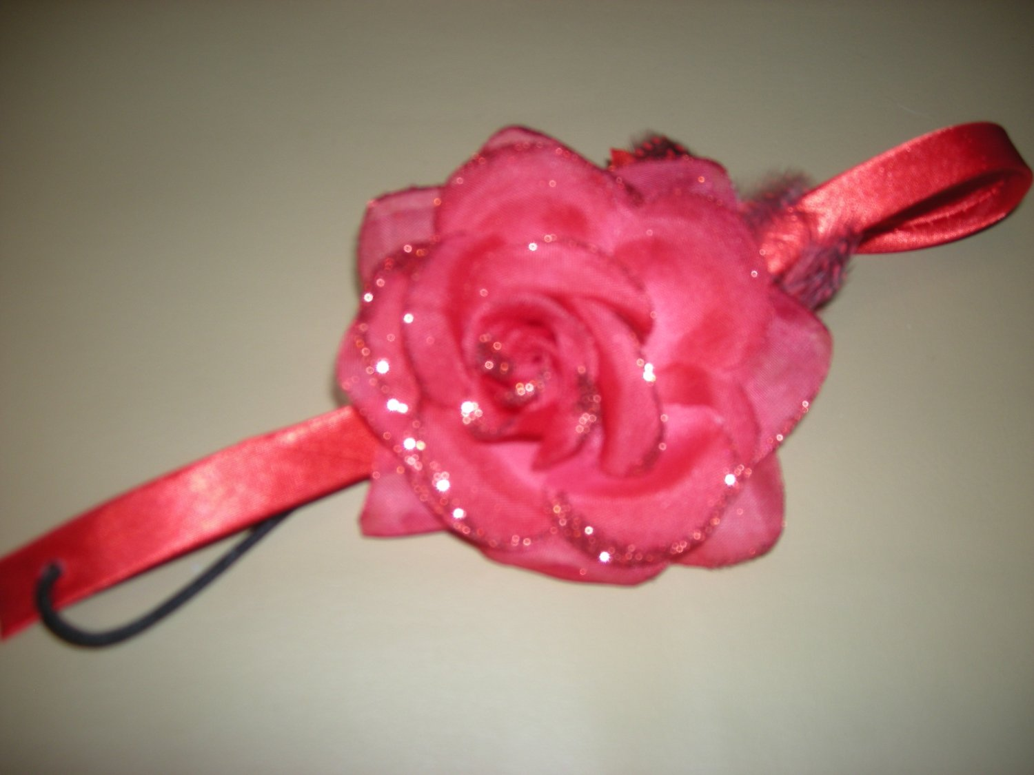 Red sparkly rose elastic headband