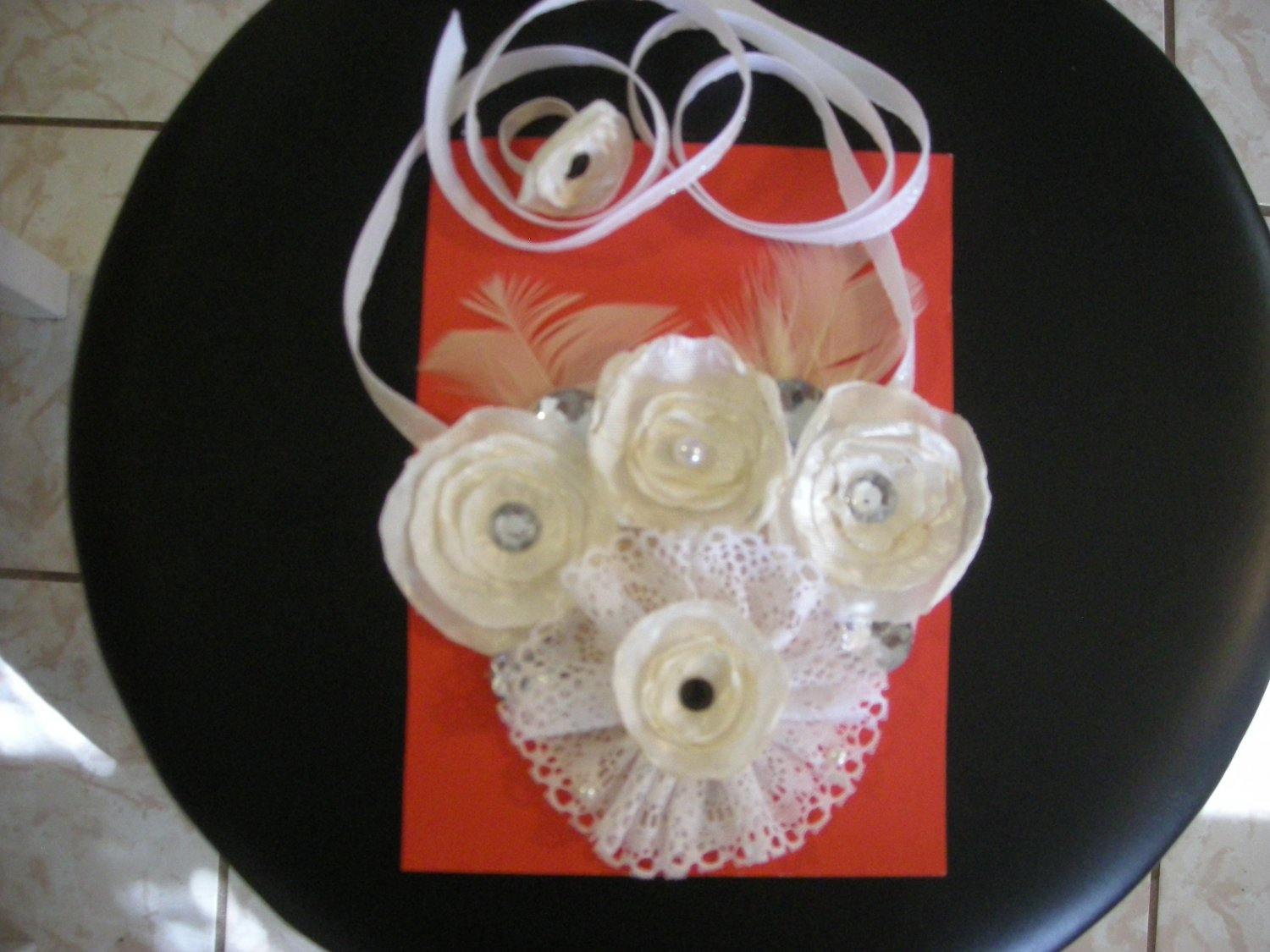white satin fabric flower necklace