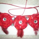 Red folded fabric flowers necklace