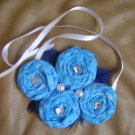 Blue folded fabric flowers necklace