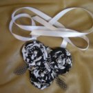 Black and white  3 folded fabric flowers necklace