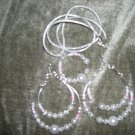 Faux pearls and silver metal double hoops  earrings and necklace set