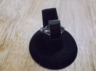 Silver metal hematite magnetic ring size 6