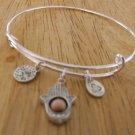 Silver metal 3 charms bracelet 6.00