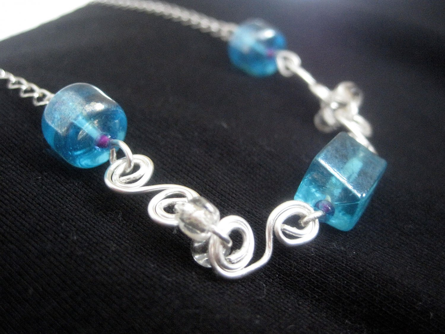Silver Plated Necklace and Earrings with Blue Beads and Wire Work