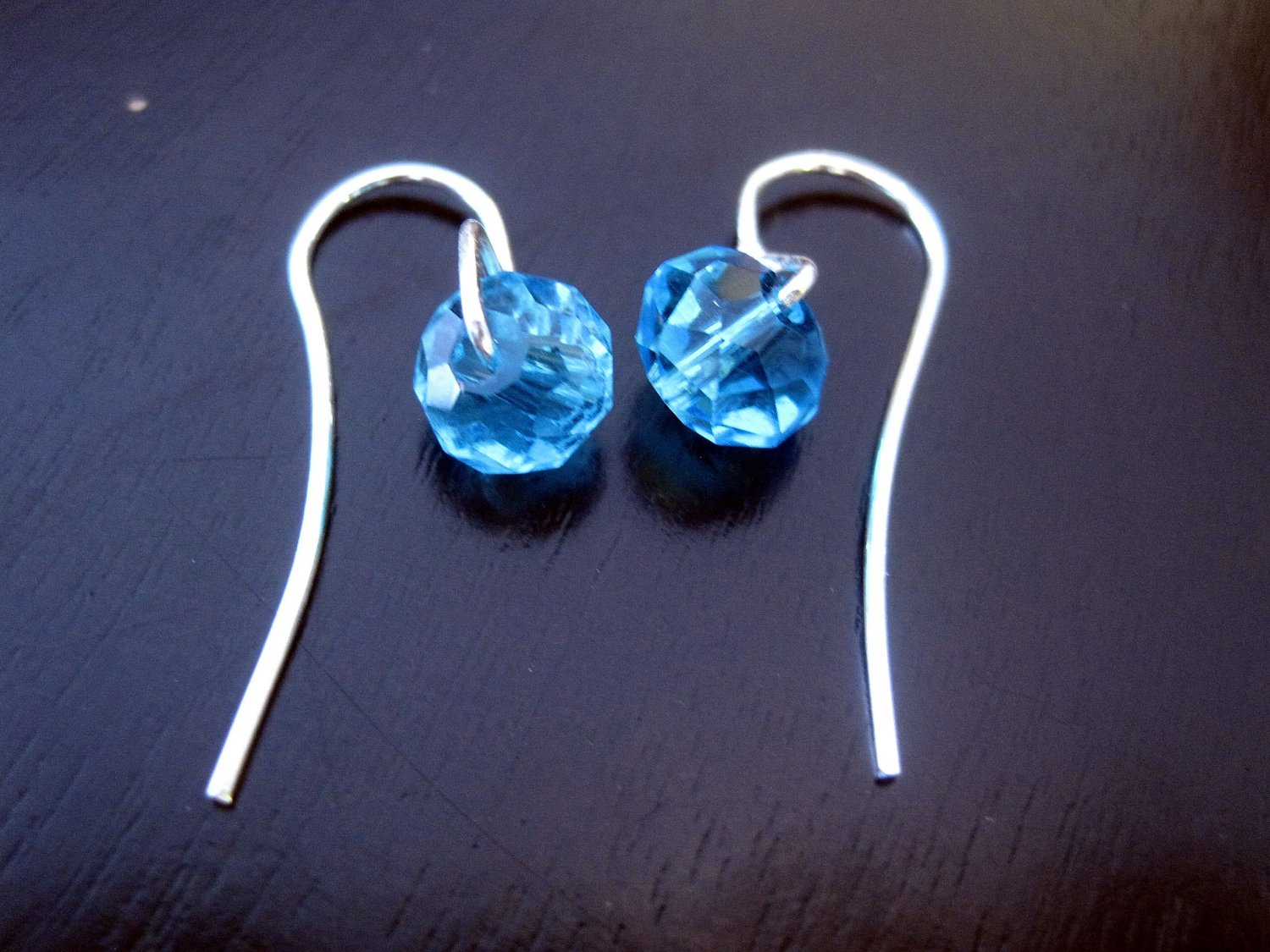 Blue Swarovski Earrings on French Ear Hooks