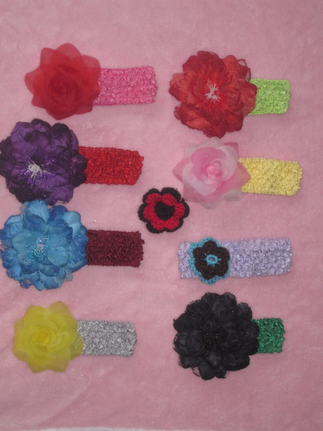 1.5 inch Crocheted Headband with your choice of Colour and Barrette