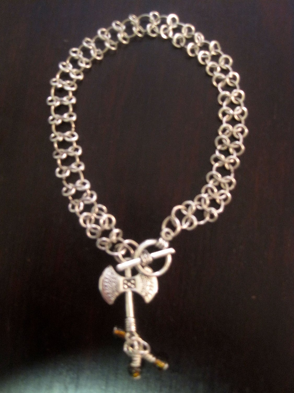 Chainmail Bracelet  with Axe Charm