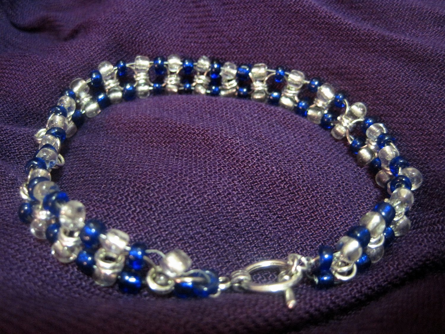 Blue and Clear Beaded Chainmail bracelet