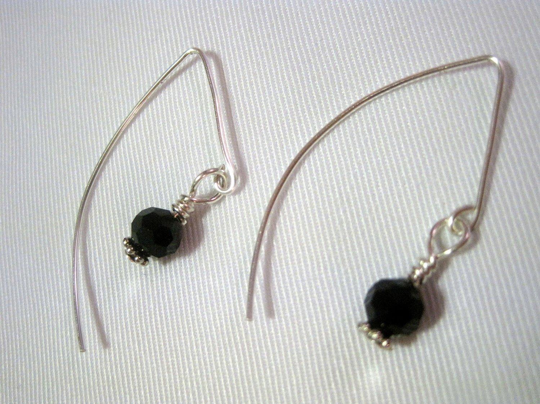 Black Swarovski Crystal on French Ear Hooks