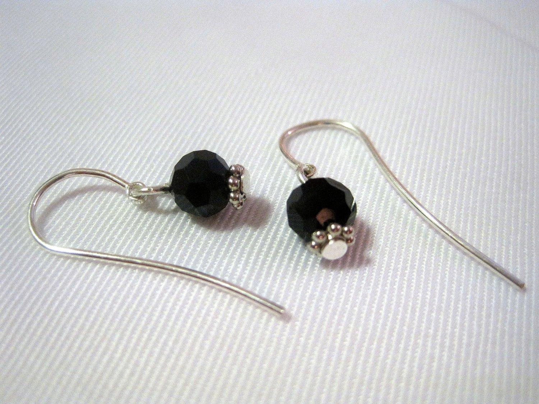 Black Swarovski Crystals on Sterling Silver French Ear Hooks