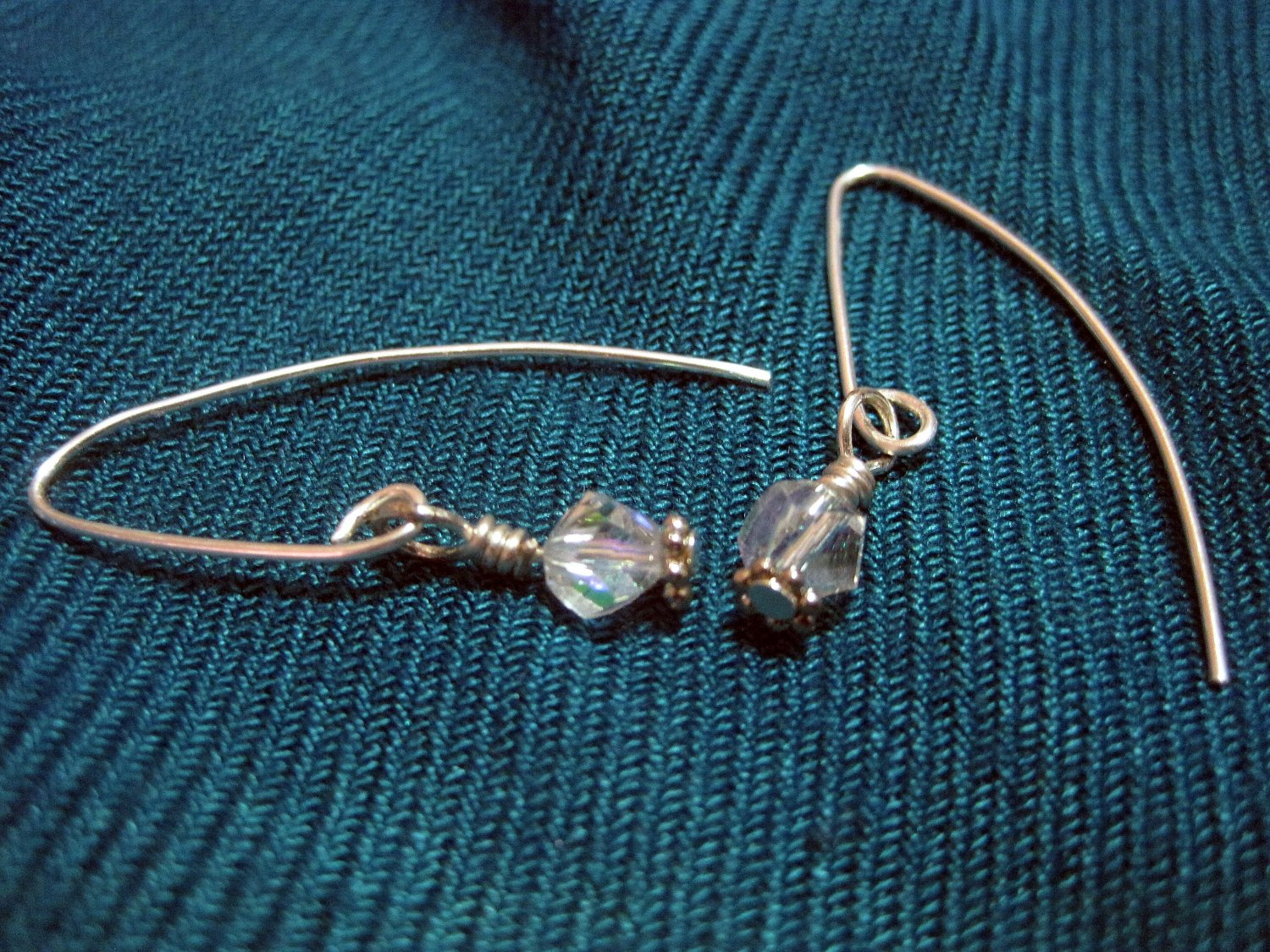 Clear/Irredescent Swarovski Crystals on Silver Plated French Ear Hooks