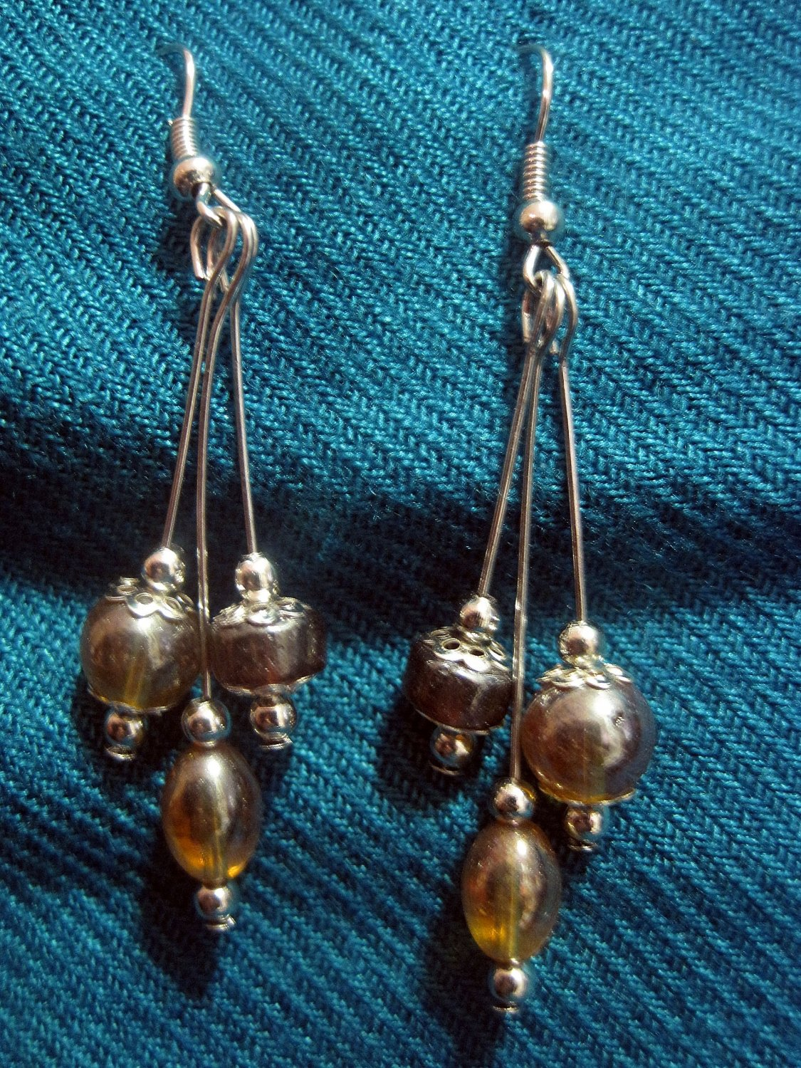3 Tiered Amber Glass Earrings