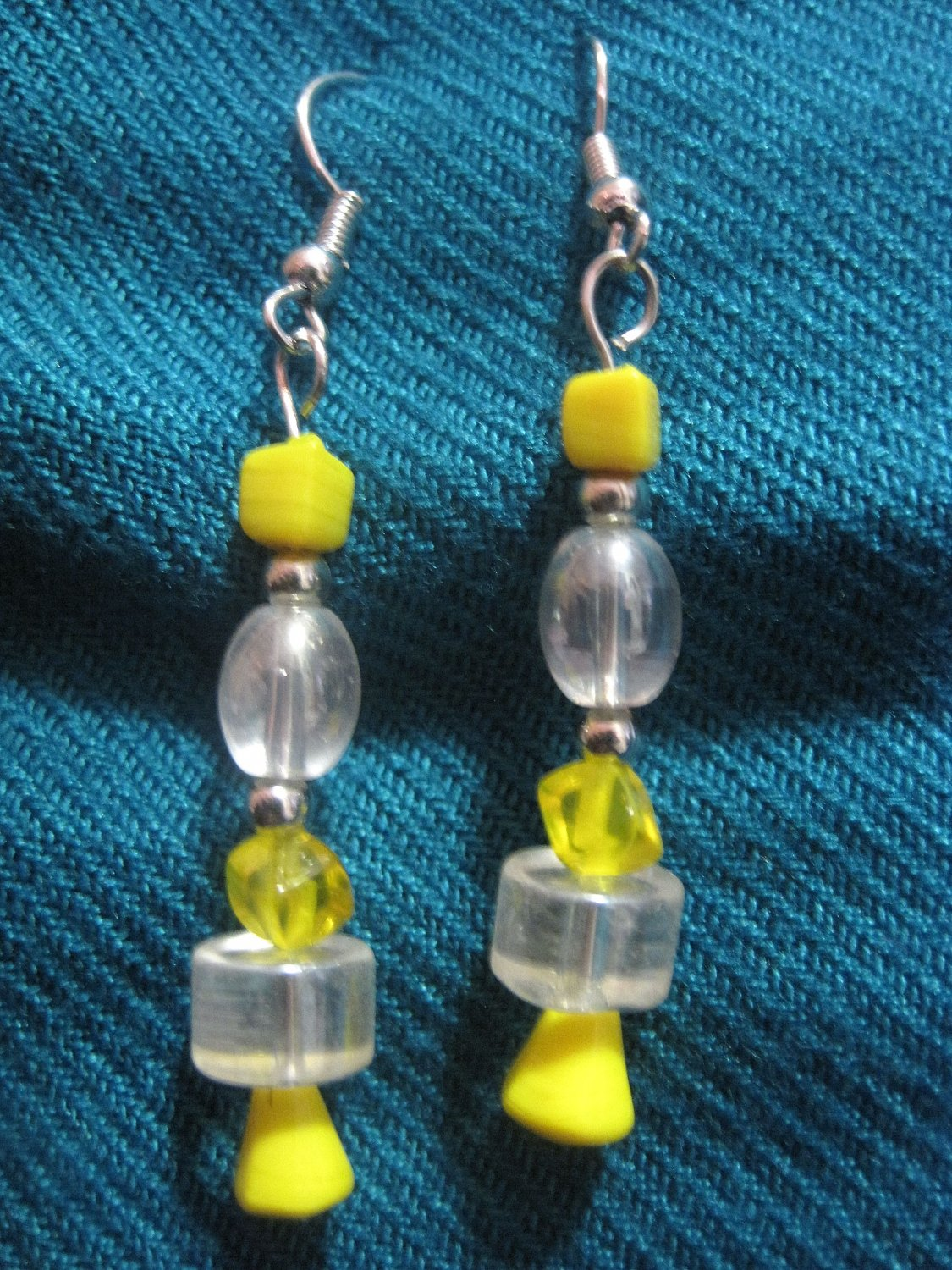 Yellow and Clear Earrings