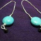 Turquoise and Garnet Ear Threaders
