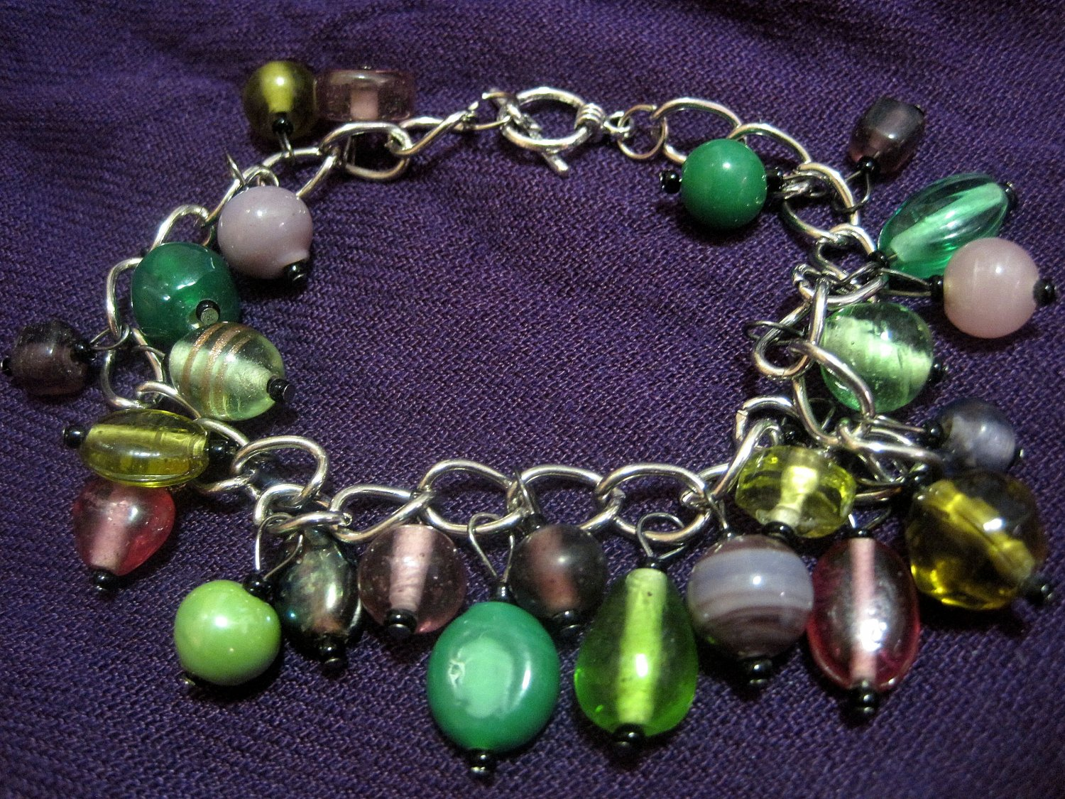 Green, and Purple Beaded Bracelet