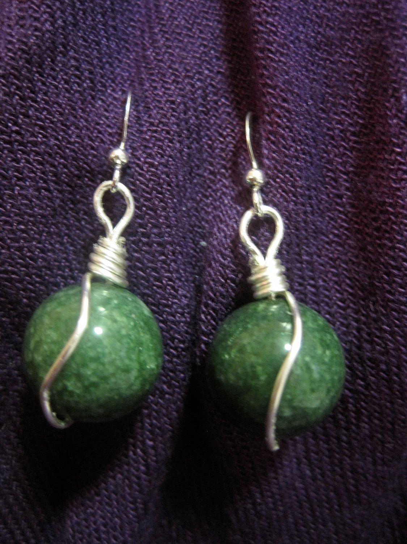 Wire Wrapped Jade Earrings