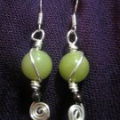 Wire Swirl African Jade, and Garnet Earring
