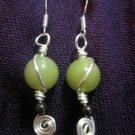 Wire Swirl African Jade, and Garnet Earring