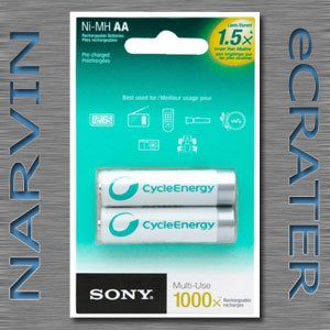 Sony Cycle Energy NHAAB2RN 1000 mAh AA Pre-Charged Batteries (2 Pack)
