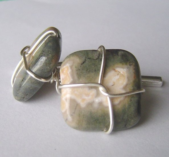 ocean jasper wired cufflinks