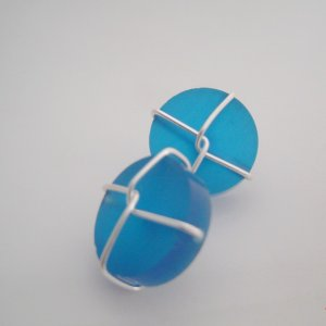 blue resin wired cufflinks