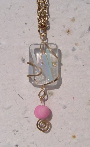 pink or blue fused glass and brass pendant