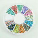 3D Feather Fimo Nail Art Decoration Wheel