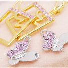 Golden Square pink row Rhinestone Silver Butterfly Earring random color