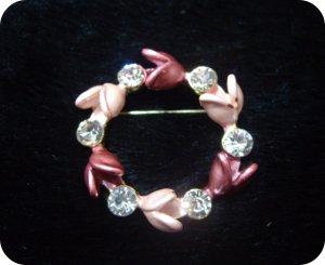 Ladies Clear Crystal Pink Floral Brooch/Pins