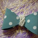 Aqua Blue Ribbon Knot  Bow w/ Pearls Hair Barrette/Clip