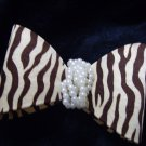 Animal Print Ribbon Knot /Bow with Pearls Hair Barrette/Clip