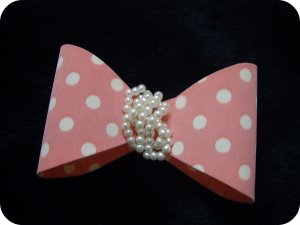 Pink & White Dots Pearls Ribbon Knot/Bow Hair Barrette/Clip