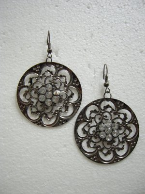 Brand New Alloy Round Shape with White Crystal Floral Dangle Hook Earrings