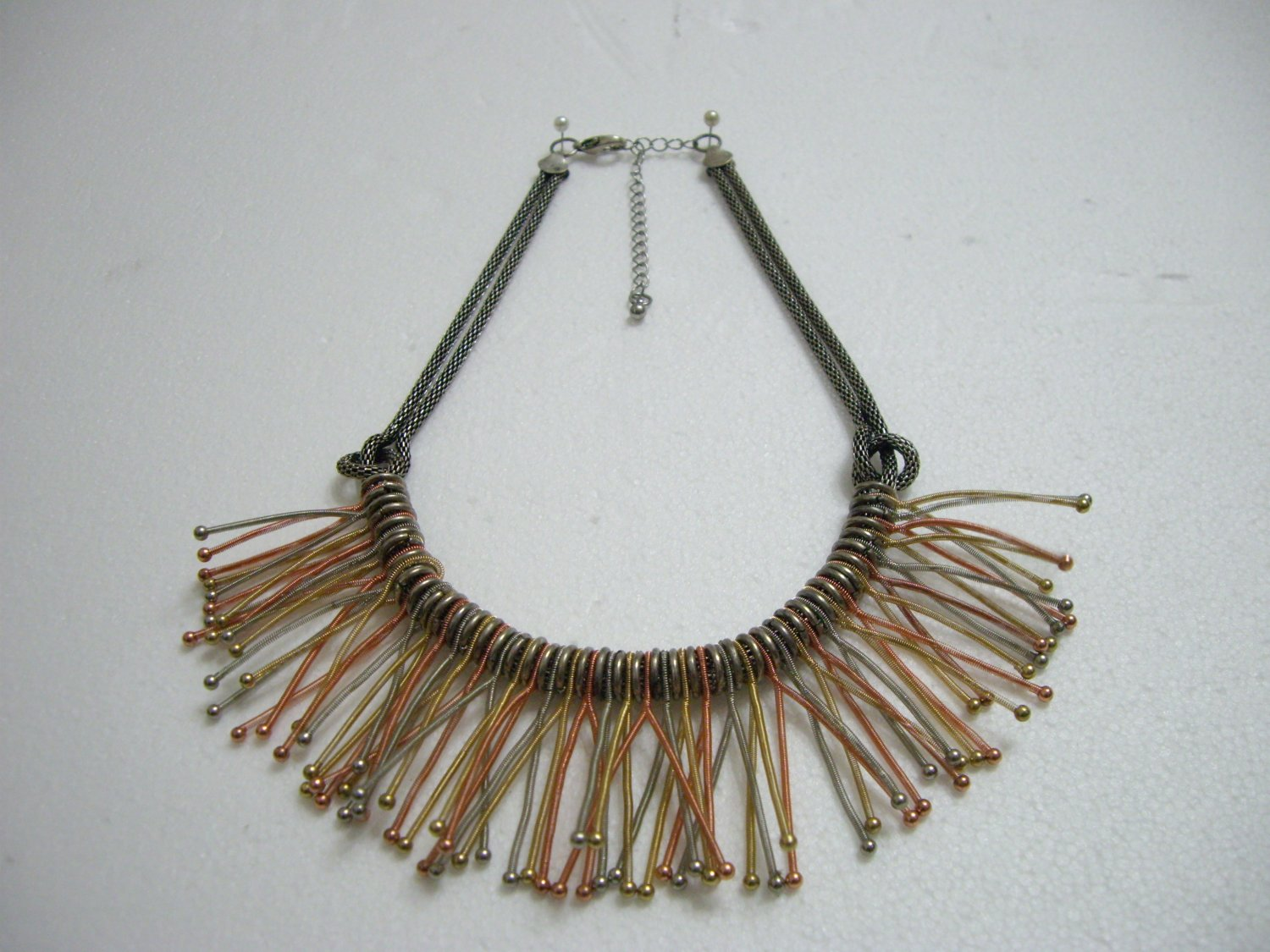 Stylish Silver Grey Chain with Multi-Colour Springs Pendant Necklace