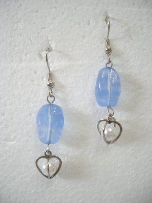 Brand New Fashionable Blue Beads Dangle Hook Earrings