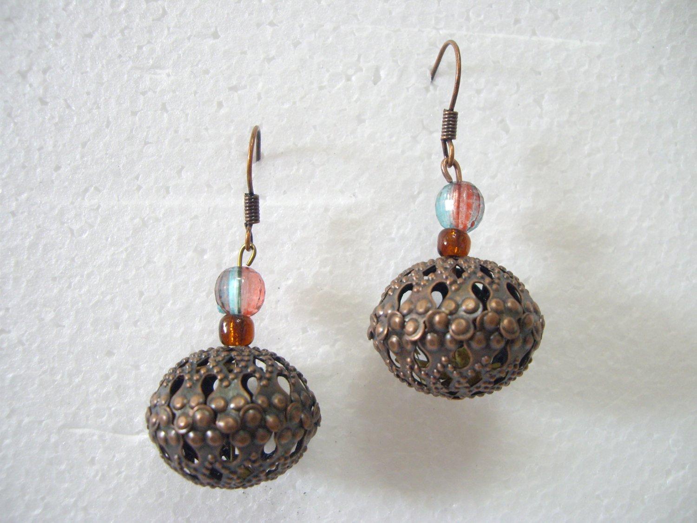 Brand New Fashionable Bronze Beads Dangle Hook Earrings