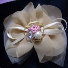 Brand New Beige Mesh Ribbon Knot with Crystal & Rose Hair Barrette/Clip/Pin