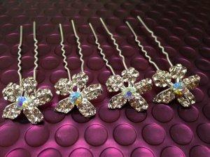 4 Pcs Light Pink Crystal Floral /Flower Hair Pins/Sticks, Wedding/Bridal/Party
